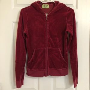 Juicy Couture Red Velour Zip Up Hoodie Girls Large